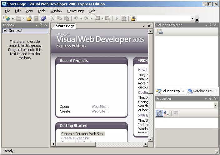 Оболочка Visual Web Developer
