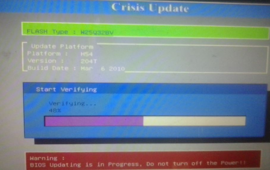 Установка обновления BIOS с флешки