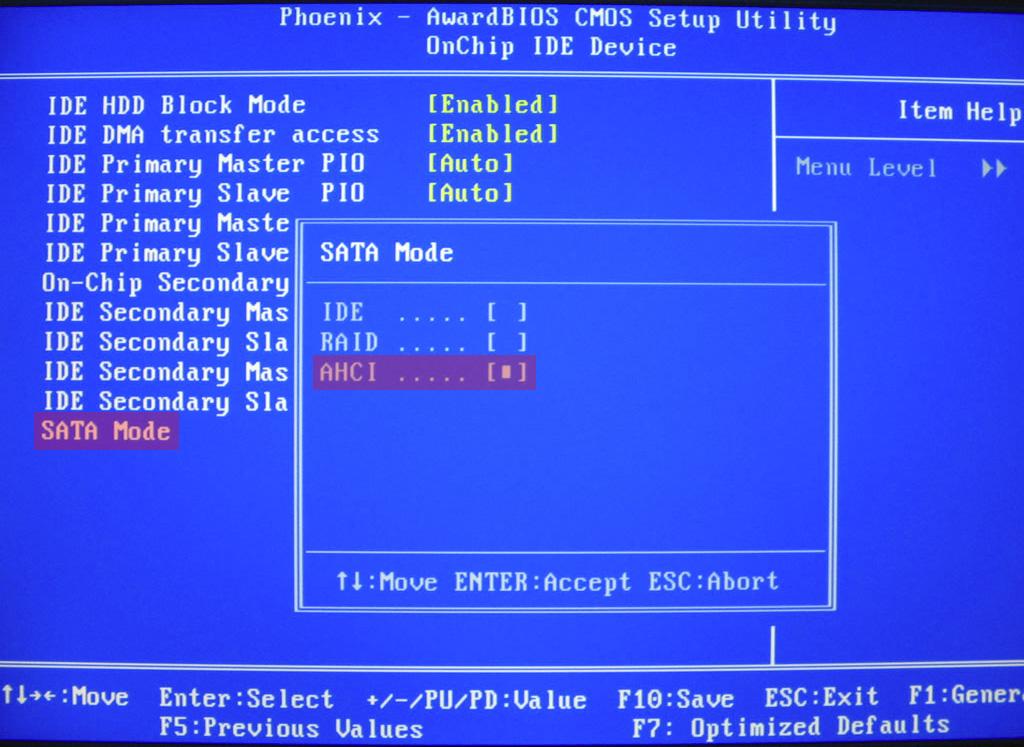 Установка режима AHCI в BIOS