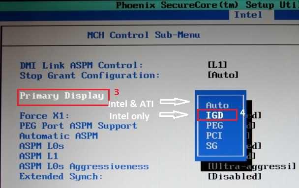 Переключение на интегрированный графический адаптер в BIOS