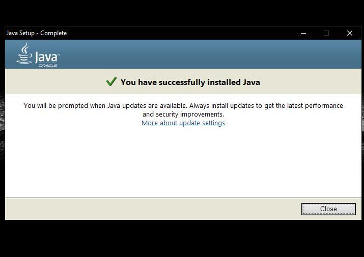 Корректное завершение установки Java