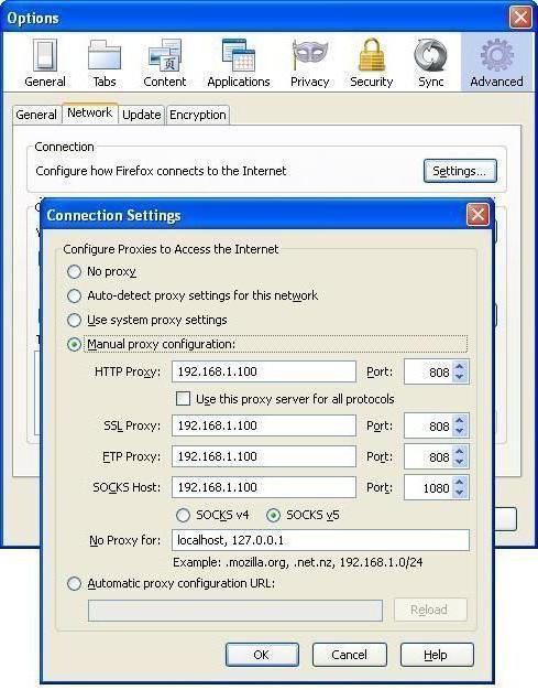 406Прокси сервер для локальной сети
