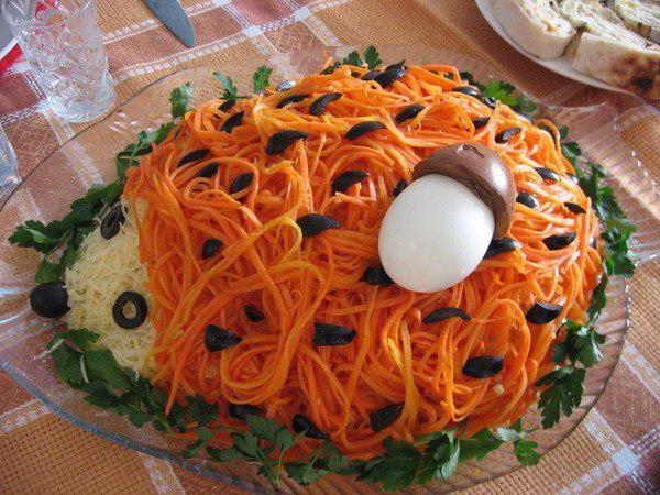 Рецепт салата ежик с корейской морковью с