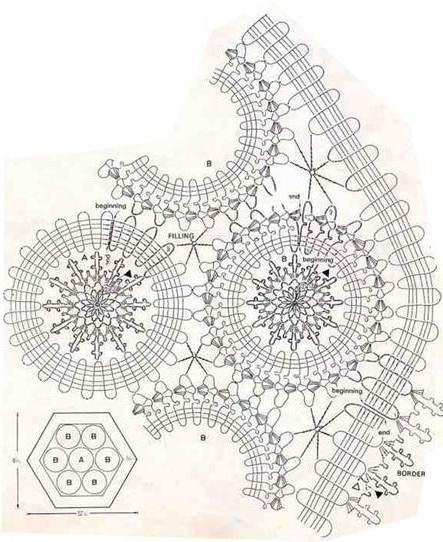 вязание крючком брюггское кружево схемы