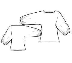 выкройка блузки с цельнокроеным длинным рукавом