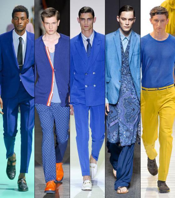Сочетание синего цвета в одежде у мужчин
