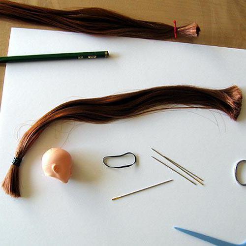 как перепрошить кукле волосы ниткой