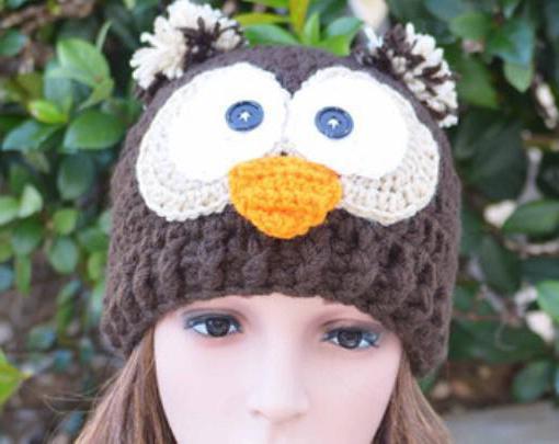 шапка сова спицами схема