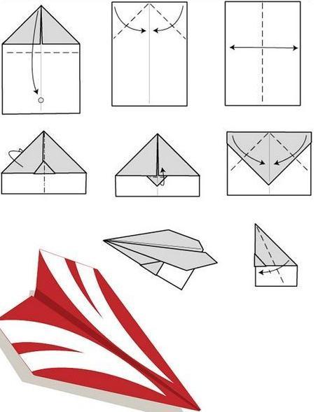 Оригами из бумаги самолетик схема
