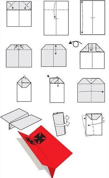 Схема самолет из бумаги - Как