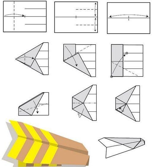 сделать самолет из бумаги схема