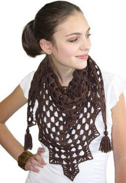 вязание шали с угла крючком