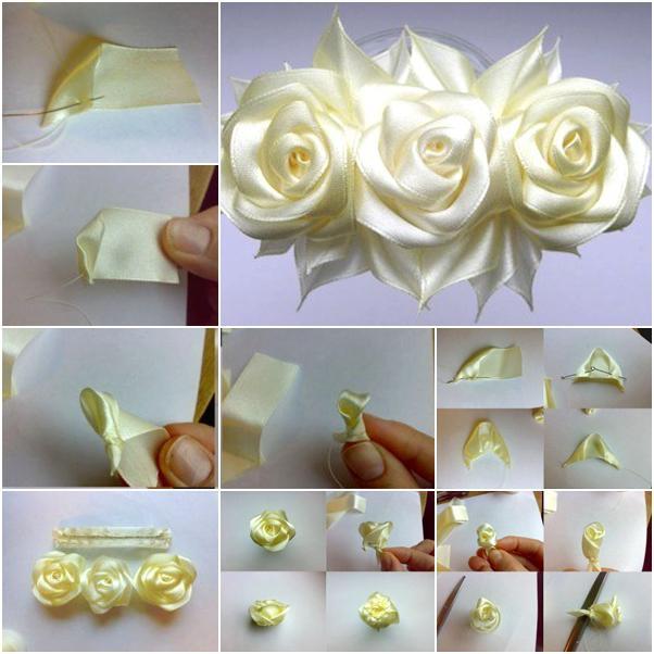 Розы сделанные своими руками из атласной ленты 180