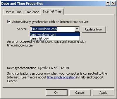 синхронизация времени с помощью службы времени windows