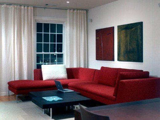 red sofa in the interior photo
