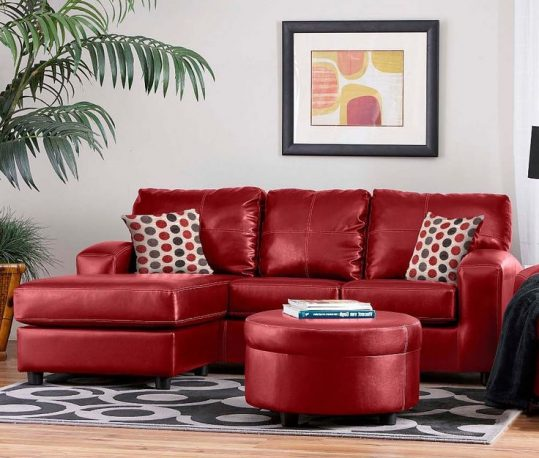 red sofa in the living room interior