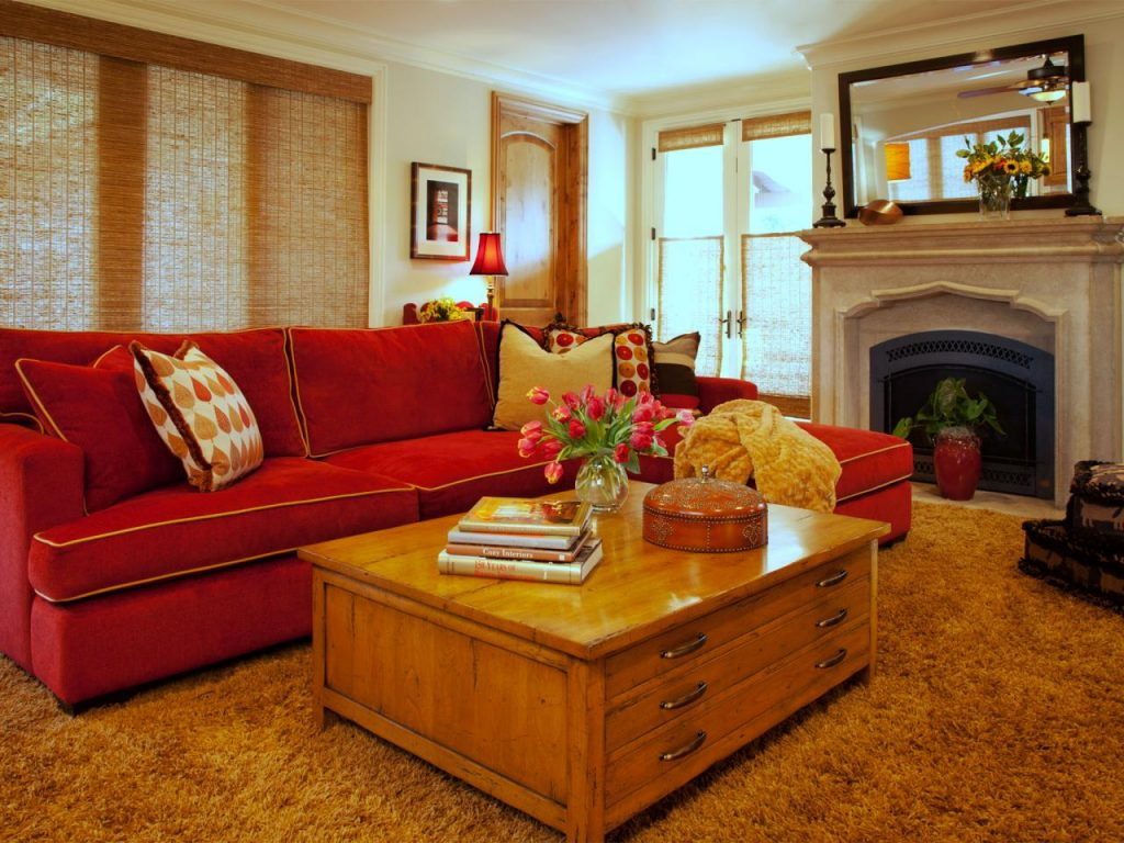 red leather sofa in the interior