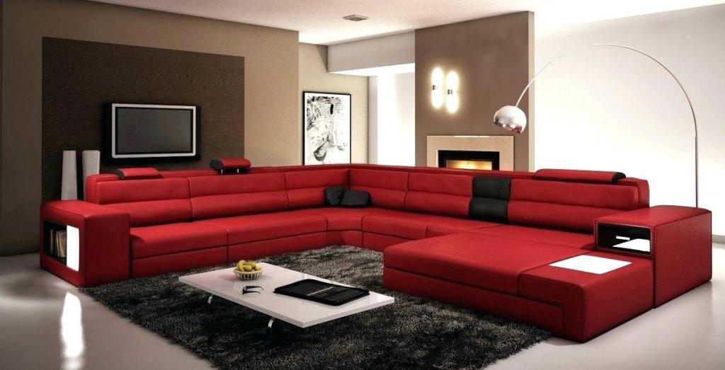 red-white sofa in the interior