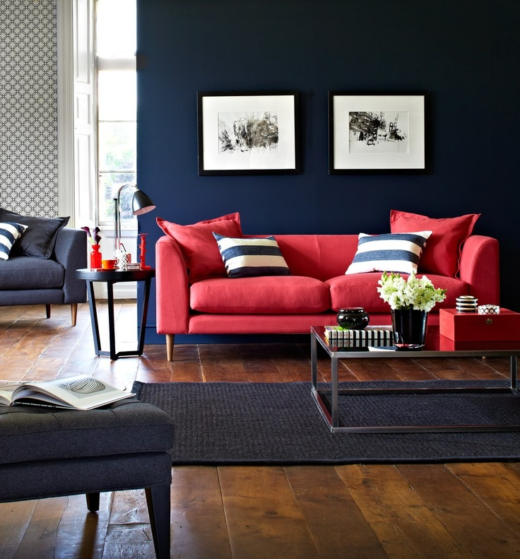 red leather sofa in the interior photo