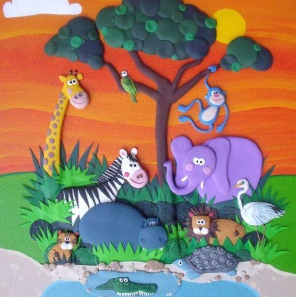 Картинки из жизни животных из пластилина