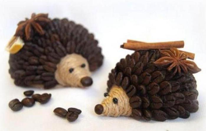 Как сделать из кофейных зерен ежика