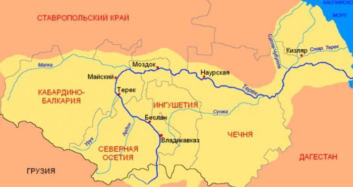 Где находиться река терек на карте