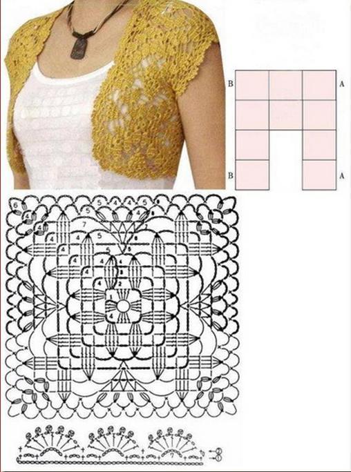 квадратные мотивы крючком со схемами
