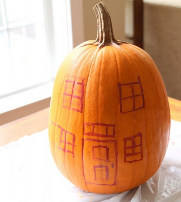 фото домик из тыквы