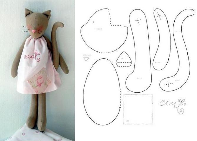 кот из ткани выкройки
