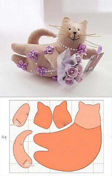 выкройки игрушек котов из ткани образец