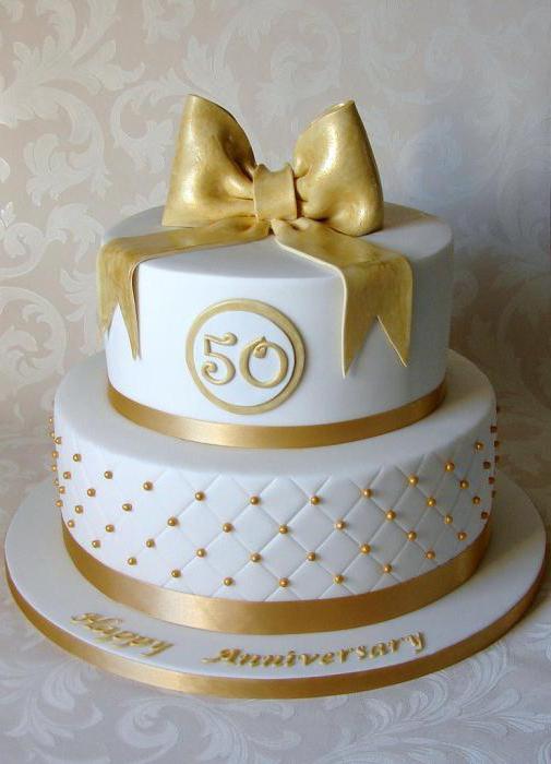 Торт на золотую свадьбу: интересные идеи