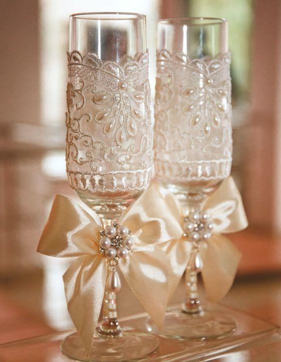 Бокалы на свадьбу своими руками пошаговое фото лентой