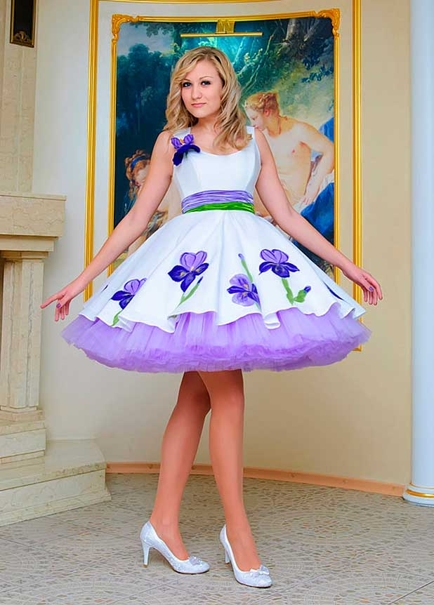 Girl in a white dress with purple accents