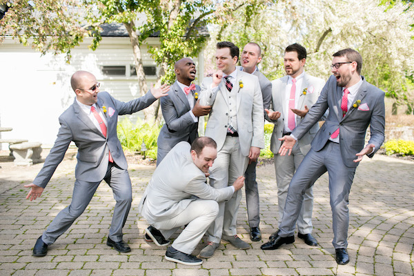 Groom and his friends in suits