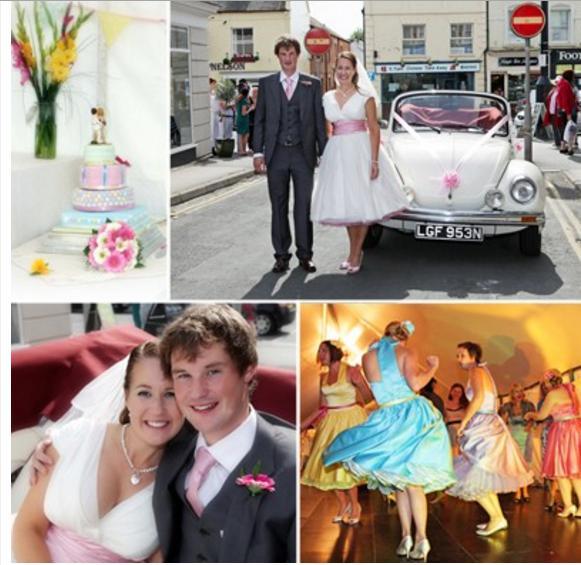 Newlyweds car, cake and dancing