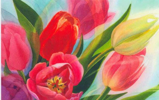 рисунки тюльпанов акварелью