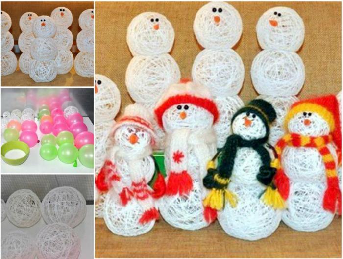 снеговик из ниток и шарика