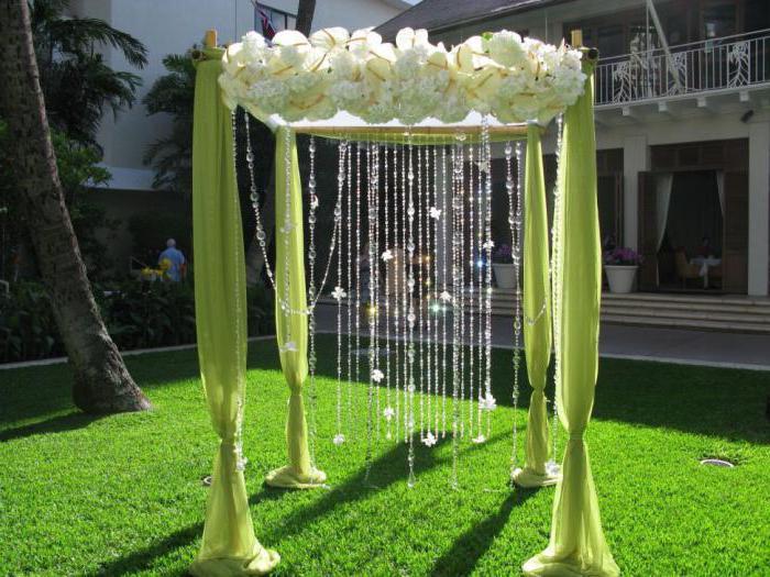 оформление арки тканью на свадьбу