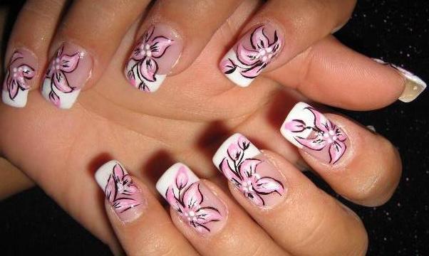 рисунки цветов на ногтях пошагово