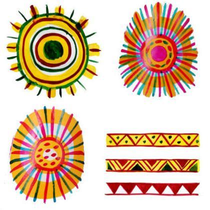 Узоры, которые используются в филимоновской росписи
