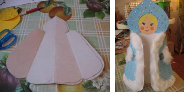 сделать деда мороза и снегурочку из бумаги