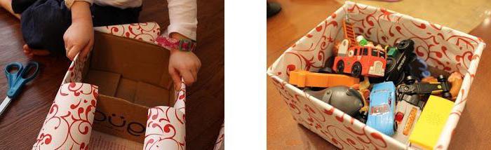 Как обшить картонную коробку тканью своими руками под игрушки 96