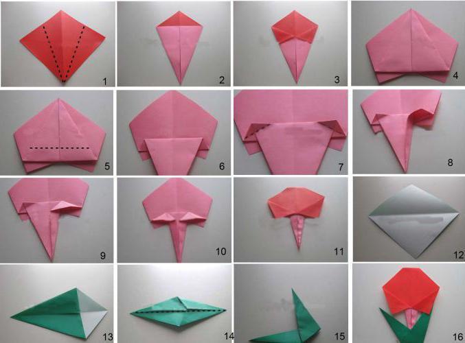 оригами роза схемы