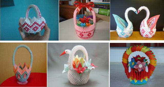 модульная корзинка оригами