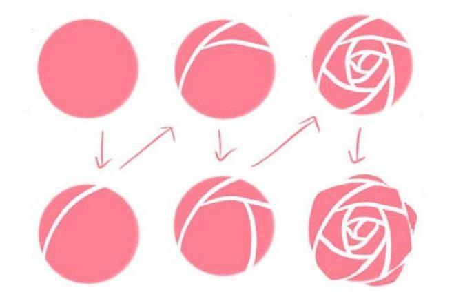 Нарисовать розу на ногте поэтапно
