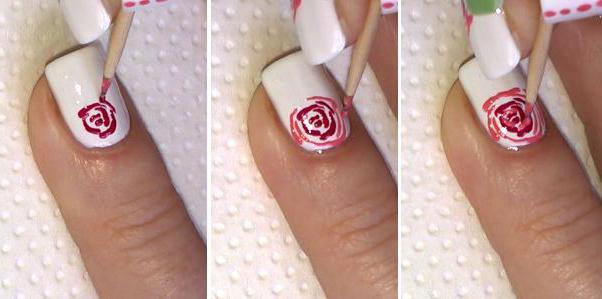 Розы на ногтях пошагово фото