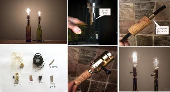 светильники из бутылок фото