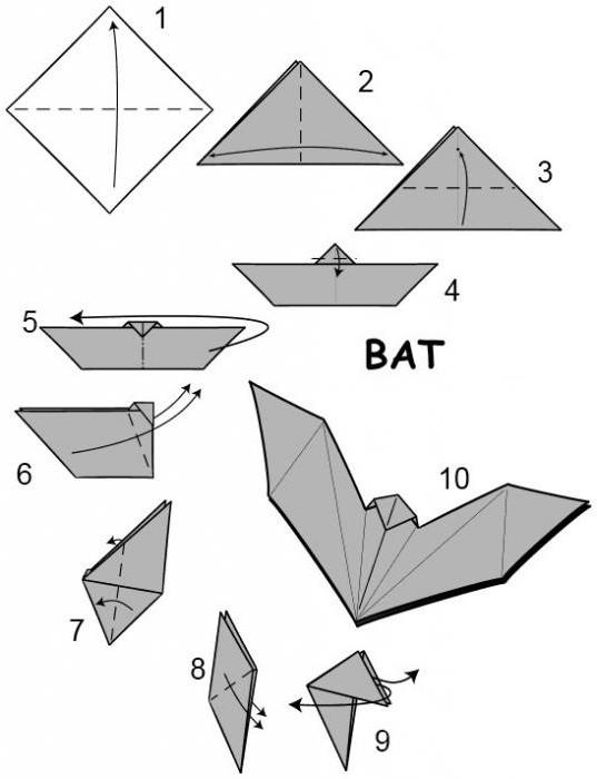 легкое оригами летучая мышь