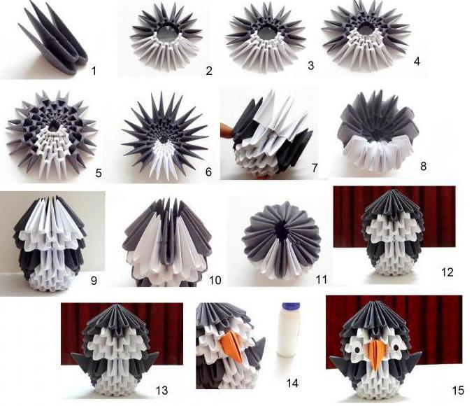 Оригами из модулей пингвин схема
