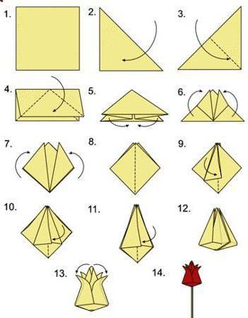 оригами цветок из бумаги к 8 марта